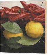 Lemons And Dried Red Peppers  For Sale Wood Print