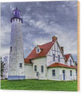 Lighthouse At Point Iroquois Wood Print