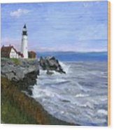 Lighthouse South Portland Me  Wood Print