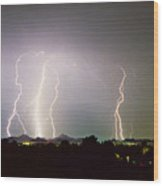 Lightning Thunderstorm View From Oaxaca Restaurant   Wood Print