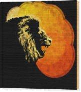 Lion Illustration Print Silhouette Print Night Predator Wood Print