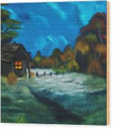 Little Pig's Barn In The Moonlight Dreamy Mirage Wood Print