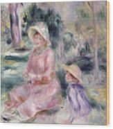 Madame Renoir And Her Son Pierre Wood Print by Pierre Auguste Renoir