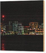 Madison Wi Skyline At Night Wood Print