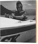 Man Male In Racing Boat June 12 1963 Black White Wood Print