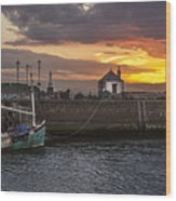 Maryport Harbour At Sunset Wood Print