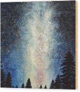 Milky Way At Night Wood Print