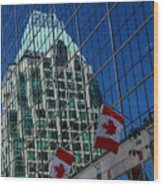 Modern Architecture - City Reflection Vancouver  Wood Print