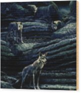 Moonlit Wolf Pack Wood Print