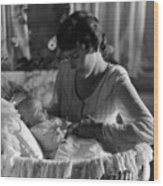Mother Baby 1910s Black White Archive Bassinet Wood Print