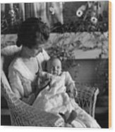 Mother Holding Baby 1910s Black White Archive Wood Print