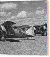 Navy Biplanes 19411945 Black White 1940s Airport Wood Print