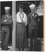 Navy Recruiting Personnel 19171918 Black White Wood Print