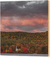 New England Fall Foliage Over The Small White Church Wood Print