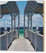 Oceanfront Pavilion Wood Print