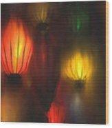 Orange Lantern Wood Print