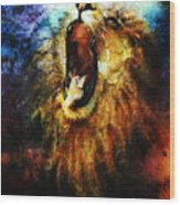 Painting Of A Mighty Roaring Lion Emerging From An Abstract Desert Pattern Pc Collage Wood Print