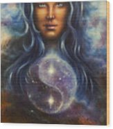 Painting On Canvas Of A Space Woman Goddess Lada As A Mighty Loving Guardian With Symbol  Jin Jang Wood Print