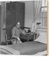 Patient Sitting Desk In Hospital Room Circa 1960 Wood Print