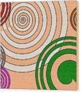 Peach And Curves Wood Print