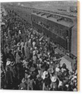People Greeting Troop Train 19171918 Black White Wood Print