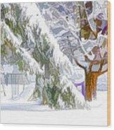 Pine Branch Tree Under Snow Wood Print