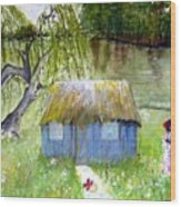 Playhouse By The Lake Wood Print