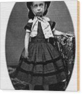 Portrait Headshot Girl In Bonnet 1880s Black Wood Print