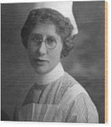 Portrait Headshot Nurse 1922 Black White 1920s Wood Print