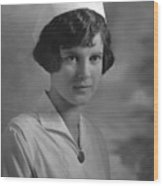 Portrait Headshot Nurse 1924 Black White 1920s Wood Print