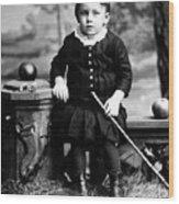 Portrait Headshot Toddler Walking Stick 1880s Wood Print