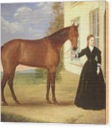 Portrait Of A Lady With Her Horse Wood Print by English School