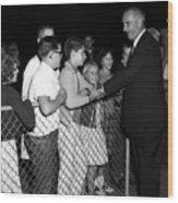 President Lyndon Johnson Shaking Childrens Hands Wood Print