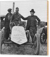 Race Car Team 1923 Black White 1920s Archive Wood Print