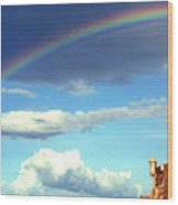 Rainbow Over El Morro Fortress Wood Print by Thomas R Fletcher