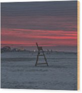 Red Sky In The Morning - Wildwood New Jersey Wood Print