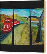 Red Train Passage Dreamy Mirage Wood Print