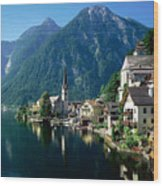 Riverfront  Reflection Austria Wood Print