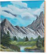 Rocky Mountain Tranquil Escape Dreamy Mirage Wood Print