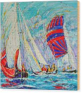 Sail Of Amsterdam II - Tree Sailboats  Wood Print