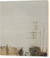Sailing Ships By A Jetty Wood Print