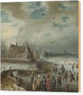 Skating On The Frozen Amstel River  Wood Print