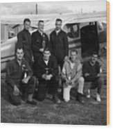 Skydiving Team Posing Airplane Circa 1960 Black Wood Print