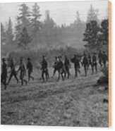 Soldiers Maneuvers Circa 1908 Black White 1900s Wood Print