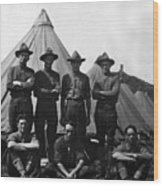 Soldiers Posing In Front Tents 19171918 Black Wood Print
