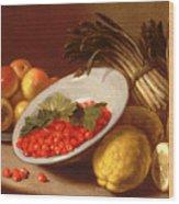 Still Life Of Raspberries Lemons And Asparagus  Wood Print