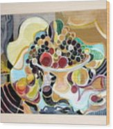 Still Life With Fish And Fresh  Fruits Wood Print by Therese AbouNader