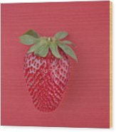 Strawberry In Red I Wood Print