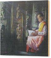 Studying Nun Wood Print