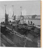 Submarines In Harbor Circa 1918 Black White Wood Print